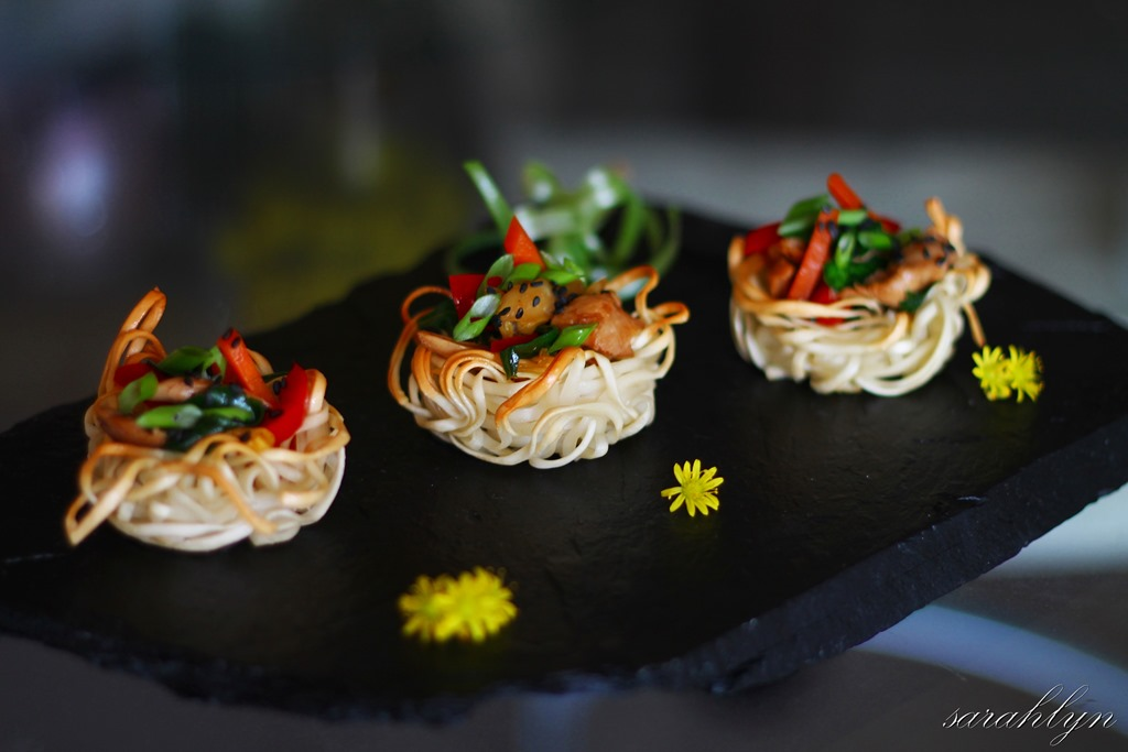 Noodle nests canap s sarahlyn 39 s kitchen for Gourmet canape ideas