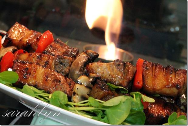 barbecue pork on skewers